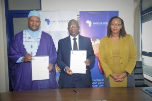 Shelter Afrique Group Managing Director and CEO Andrew Chimphondah and the Togolese Ambassador to Africa Union & United Nations Economic Commission Mr. Batengue Bankotina signing the Protocol Agreement in Nairobi, Kenya.